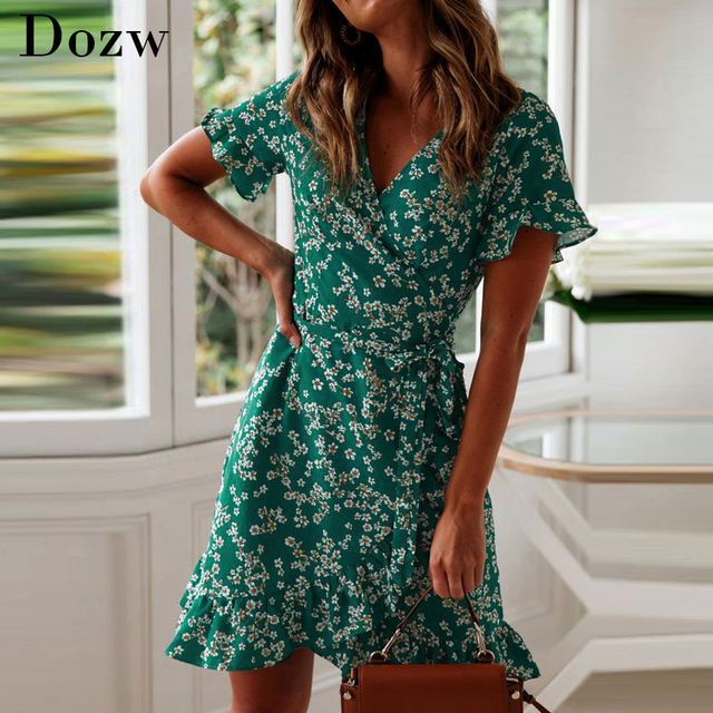 Women Dresses Summer 2020 Sexy V Neck Floral Print Boho Beach Dress Ruffle Short Sleeve A Line Mini Dress Wrap Sundress Robe 1