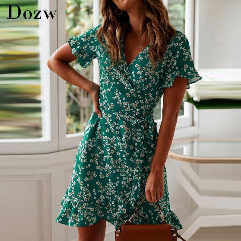 Robe légère à motifs floraux, sexy, col en V, imprimé floral, style Boho, robe de plage, volants, manches courtes, coupe trapèze, mini robe portefeuille, été 2020
