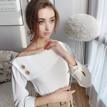 Dabuwawa Asymmetric Chic Turn-down Collar Design Shirts Women Long Sleeve Solid White Blouses Tops Office Lady DT1AST005 asymmetric long sleeve top