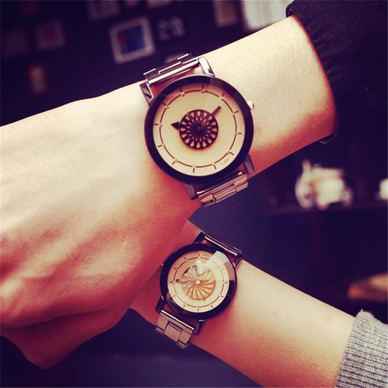 Lover's Watch Quartz All Steel Belt Couple Watches Personality Dial Watch Erkek Kol Saati Clock Fashion Casual Couplegift Unique