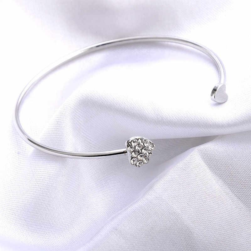 Moduł 2018 gorąca nowa moda regulowany kryształ podwójne serce Bow Bilezik otwór mankiet bransoletka damska biżuteria na prezent Mujer Pulseras