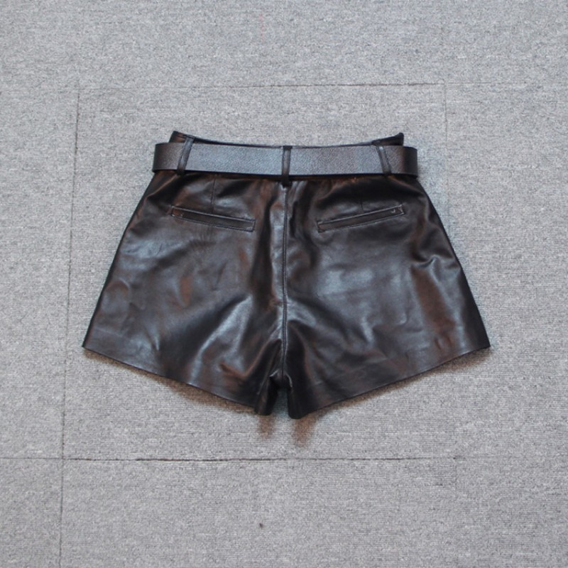New Fashion Women Punk Black Sheepskin Genuine Leather Wide Leg Short Trousers Belted Slim Fit Casual Motor Biker Female Shorts