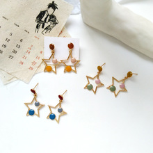 Daily wear jewelry personality creative stars colorful enamel stud Japanese Korean style simple student earrings gift