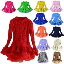 ; осенне-зимнее платье для девочек; детская одежда; Детские платья; праздничное платье для девочек; вязаный свитер с длинными рукавами; рождественское платье