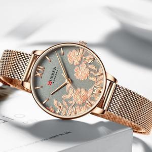 Image 3 - CURREN zegarki damskie Top marka luksusowy zegarek ze stali nierdzewnej stalowy pasek dla kobiet Rose Clock stylowe panie kwarcowe puzderko na prezent