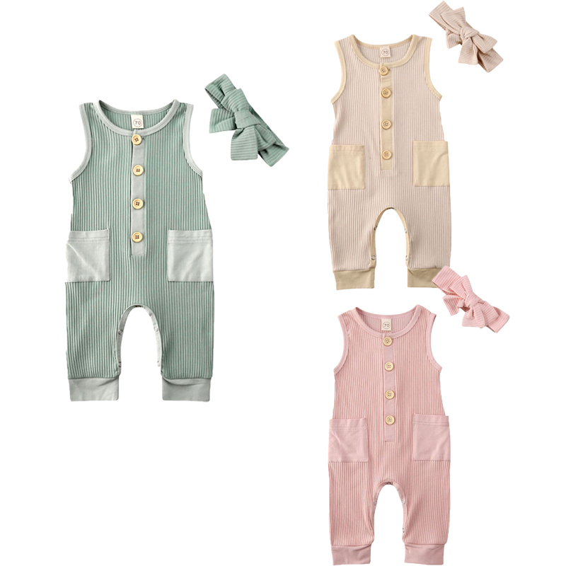 0-24M Newborn Baby Girl Boys Romper Headband Clothes Solid Sleeveless Pocket Jumpsuit Outfit Summer 2pcs
