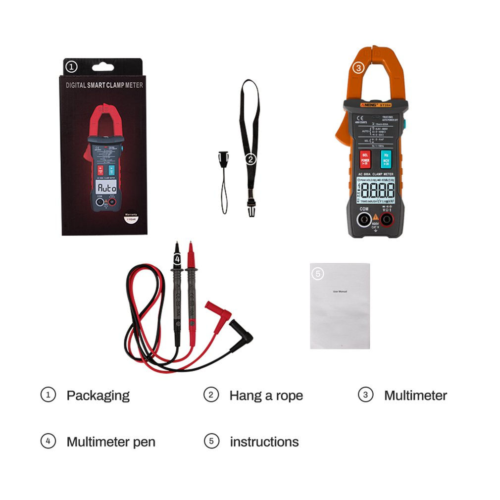 ANENG AUTO Digital Clamp Meter 4000 Counts DC/AC Current Voltage Clamp Analog Multimeter True RMS ST204 NCV Test|Clamp Meters| |  - title=
