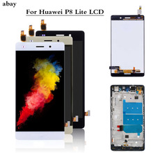 For Huawei Ascend P8 Lite ALE L04 L21 TL00 L23 CL00 L02 UL00 LCD Display Touch Screen Digitizer Assembly Replacement With Frame