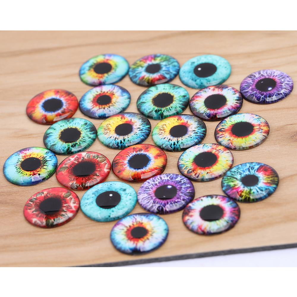 Onwear Mixed Doll Eyes Photo Glass Cabochon 14mm Thin Diy Jewelry Components For Crafts Making