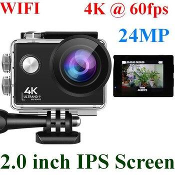 24MP Wifi Action Camera Ultra HD 4K 60fps 2.0'' IPS Screen Sport Camera Go Waterproof Pro Sports DV 170 Wide Angel Helmet Camera 1