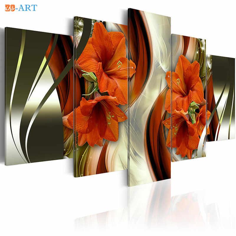 Merah Bunga Lili Bunga Cetak Dinding Seni 5 Buah Oranye dan Ungu Bunga Poster Modern Kanvas Lukisan Dekorasi Rumah Hadiah untuk dia
