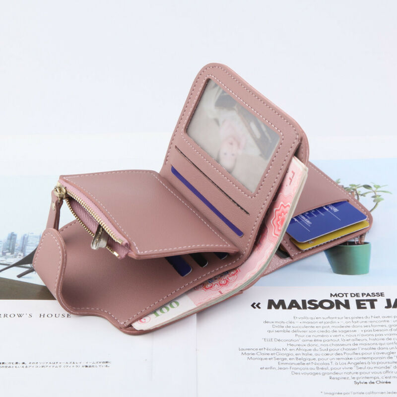 Womens Short Small Money Purse Wallet Ladies Leather Folding Coin Card Holder Button Clutch Purse Wallet Card Coin Holder Snap
