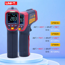 UNI T UT301A+/302A+/303A+ Infrared Thermometer high definition EBTN color screen adjustable emissivity Alarm function  32~800C