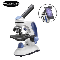 40X 2000X Biological Microscope with Adjustment Top/Bottom LED Illuminated Monocular Smartphone Mobile Phone Microscope Present