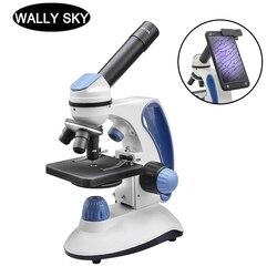 40X-2000X Biologische Microscoop Met Aanpassing Top/Bottom Led Verlichte Monoculaire Smartphone Mobiele Telefoon Microscoop Aanwezig