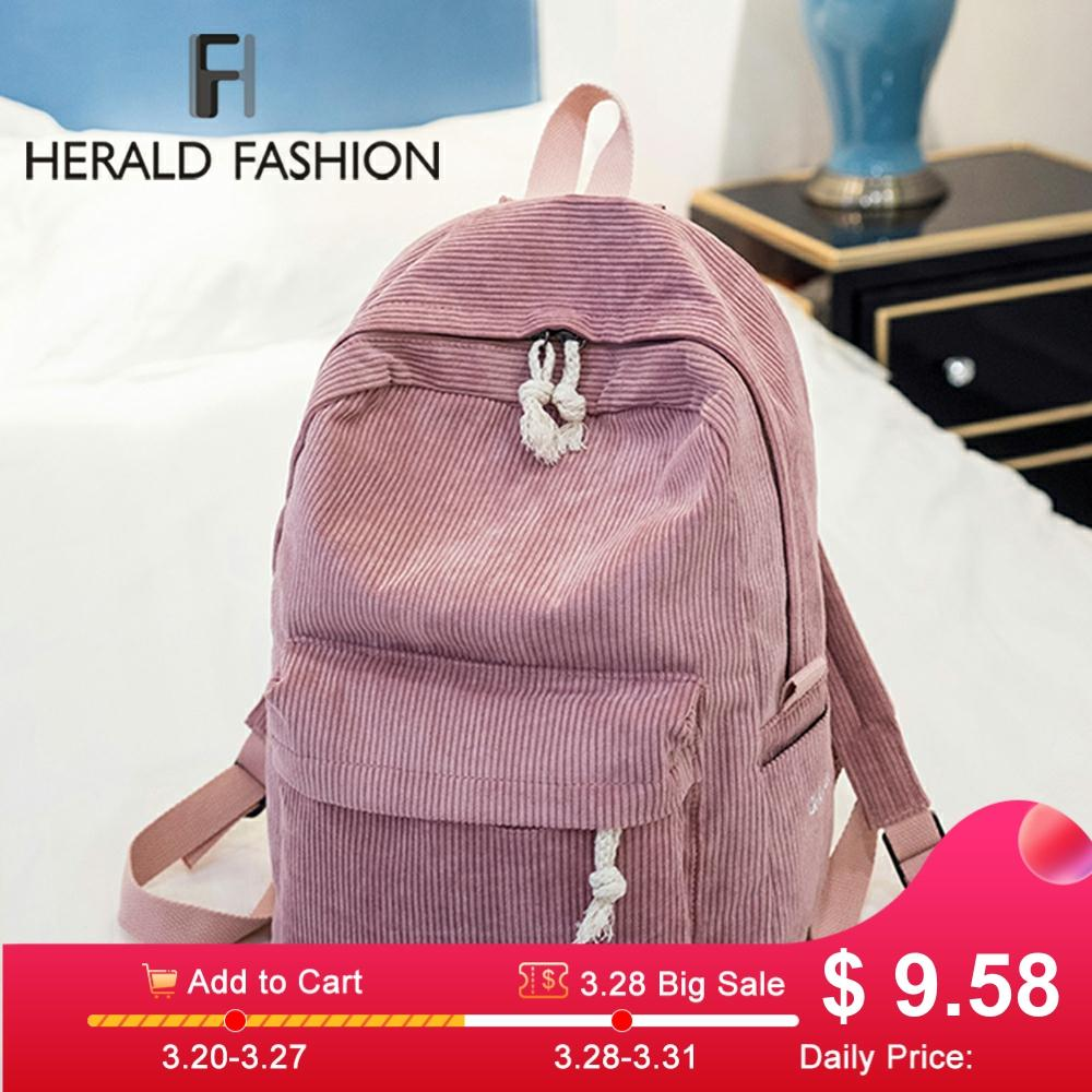 Herald Fashion Preppy Fabric Backpack Female Velvet Design Collage School Backpack For Teenage Girl Striped Backpack Women