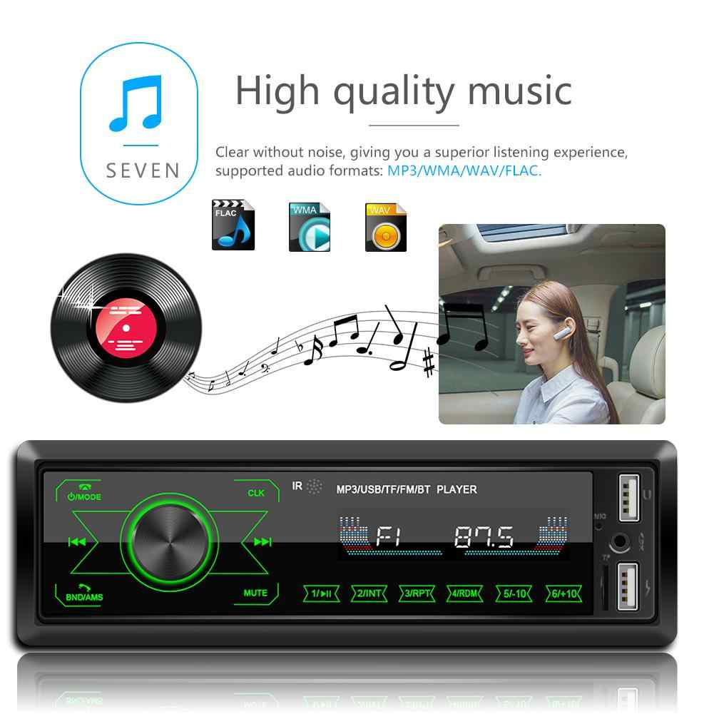 Radio Mobil 1 Din Player Bluetooth Stereo Auto Radio Touch Layar MP3 Pemutar Musik dengan Warna-warni Lampu untuk Mobil Masukan receiver