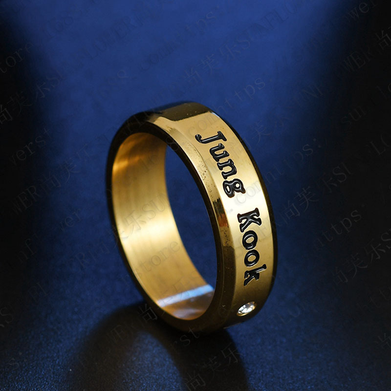 1pcs BTS Black Gold Silver Gloss Rings Name Birthday 14