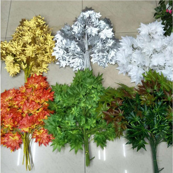 Free shipping white red green gold silver maple leaf branch leaves artificial silk plant for home decor party supplies