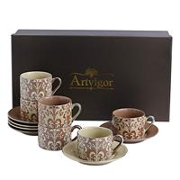 Artvigor 12 pieces 220ml/7.5oz Tea&Coffee Cup and Saucer Set Gray Glazed Porcelain Coffee Set with Gift Box for ChristmasWedding