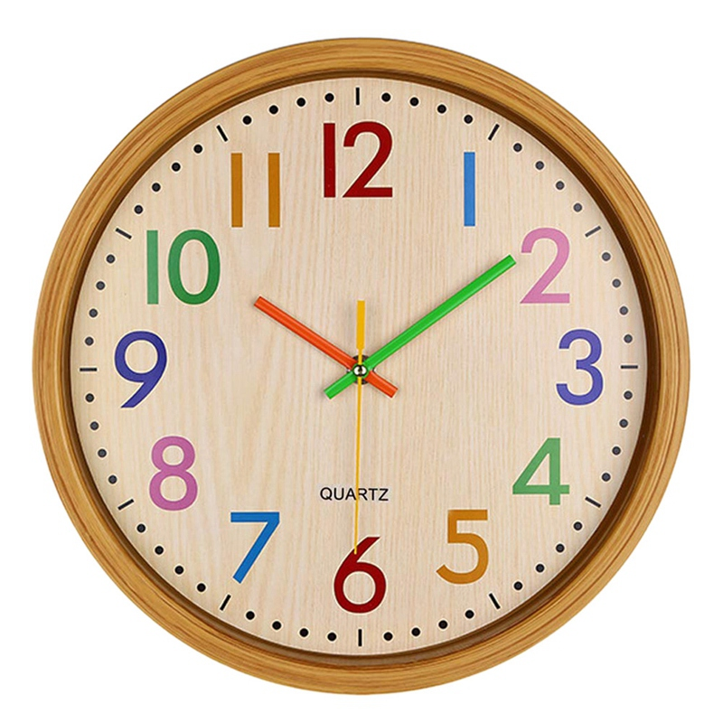 12 Inch Easy Read Silent Wall Clock Colorful Arabic Numerals Round Clock For Living Room, Battery Not Included