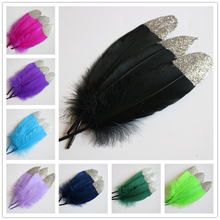20Pcs/Lot Silver Gold Goose Feathers 15-20cm/6-8inch Duck For Crafts Decoration Accessories for jewelry making Plumes