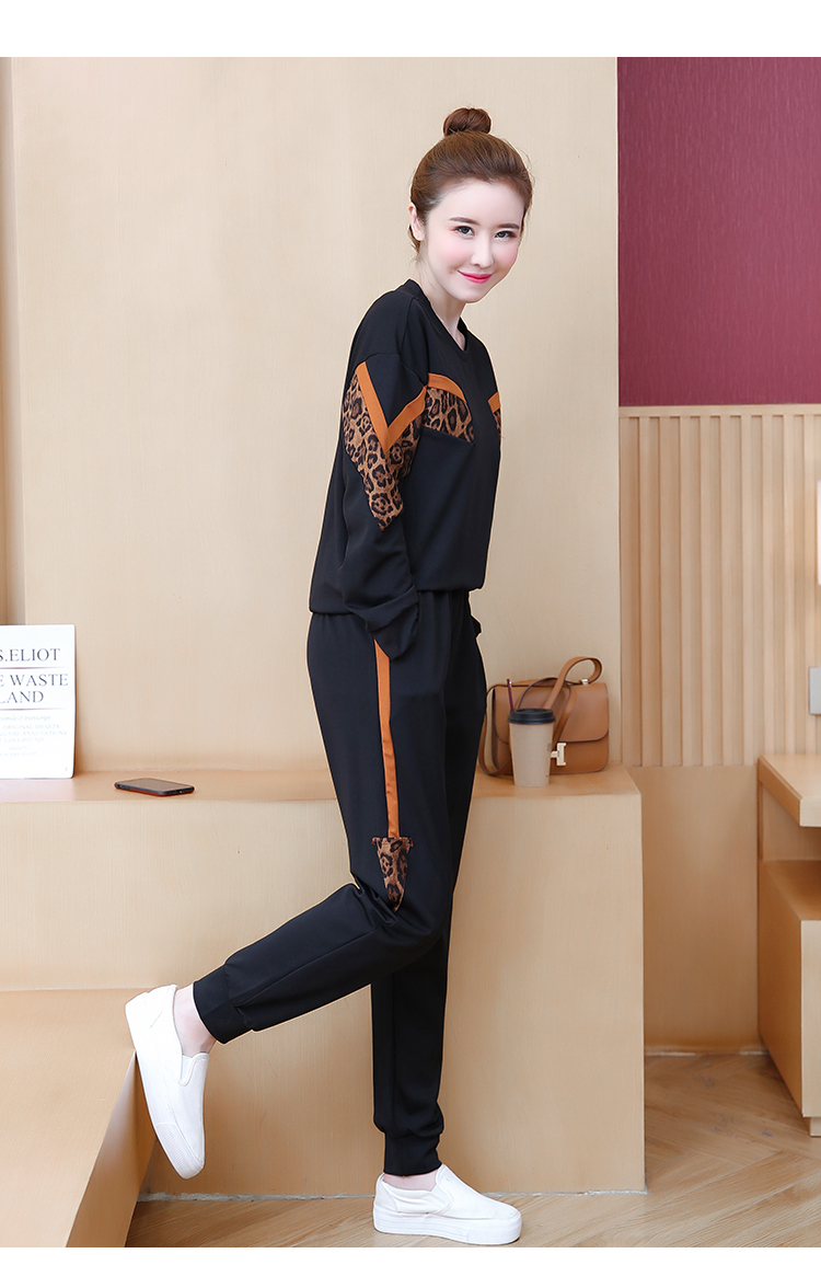 Black Leopard Print Two Piece Sport Tracksuits Sets Women Plus Size Korean Sweatshirt And Pants Suits Casual Fashion Outfits 32