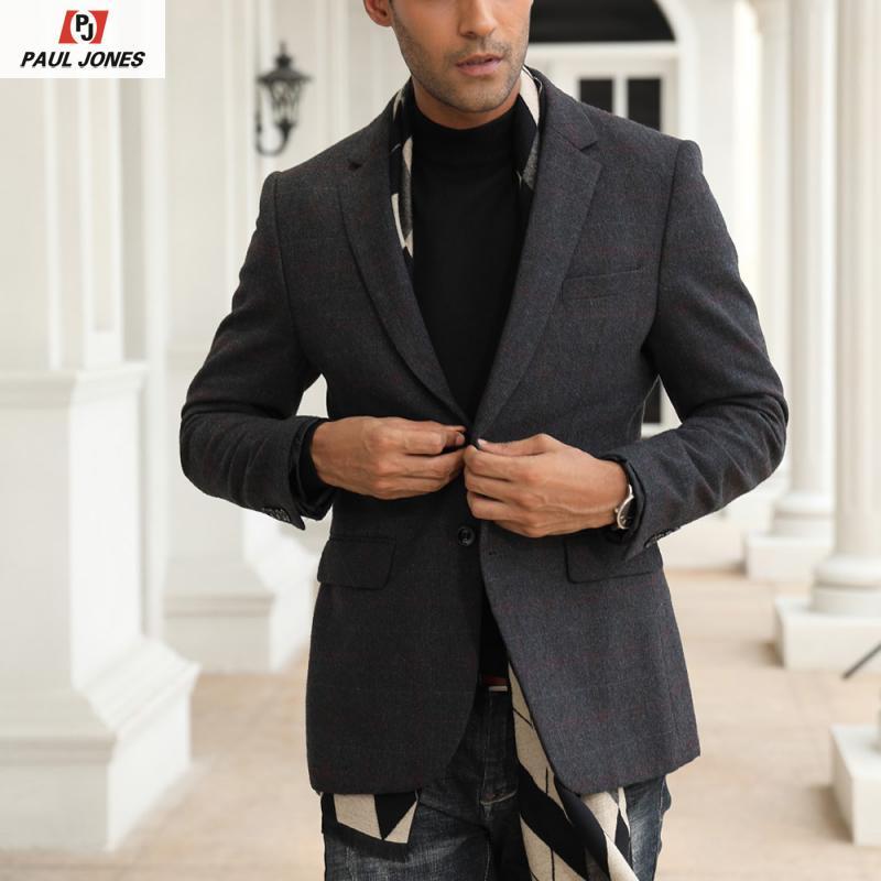PAUL JONES Men's Wool Blend Plaid Blazer Suit Jacket Slim Fit Stylish Long Sleeve Notch Lapel Two-Button Blazers Coat PJ0247