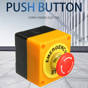 цена на 22mm Emergency Stop Push Button Switch With Box 1 NO 1 NC 10A 660v Waterproof Box Hand-Held Button Explosion-proof anti-corrosi