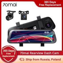 70mai rearview traço cam de largura 1080p auto cam 130 fov 9.35 Polegada tela cheia 70mai espelho gravador carro transmissão mídia carro dvr