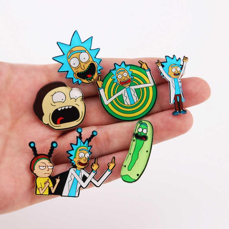 漫画リックと Morty ピン天才マッド科学者バッジボタンブローチアニメ愛好家デニムシャツラペルピン