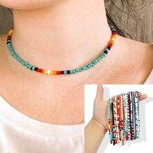 Imitação de pérolas cor nova, moda boêmia estilo colar feminino