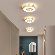 Moderno led dourado luz de teto para sala estar corredor varanda foyer brilho redondo lâmpada do corredor decoração casa luminárias