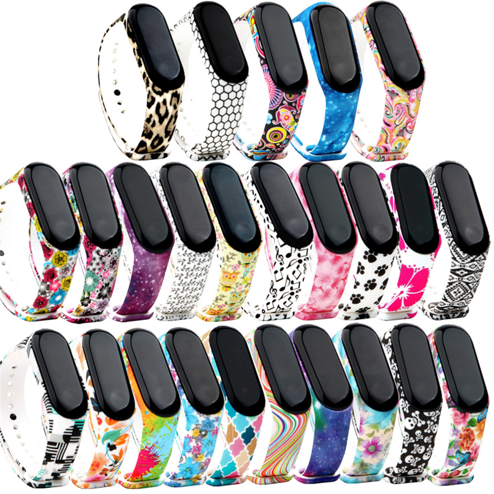 25 Colorful Soft Silicone Strap Watchband For Xiaomi Mi Band 4 Band 3 Smart Watch Flower Printed Wrist Band Bracelet Accessories