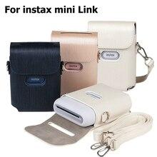 Capa protetora para impressora de fecho, bolsa de couro pu para fujifilm instax, azul, rosa e branco