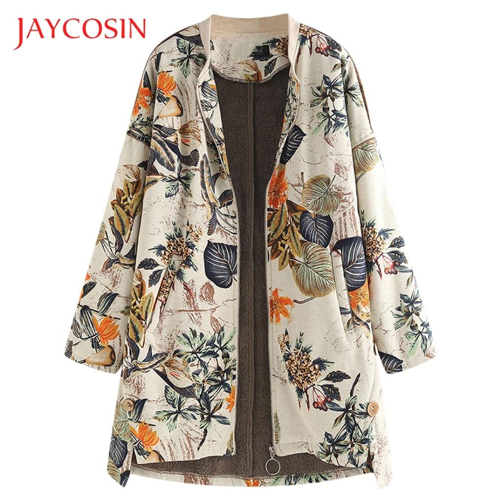 JAYCOSIN Womens long-sleeved Round Neck Coat Jacket Wool Blend Coat Casual Autumn And Winter Elegant Coat Loose Large Size 814#2