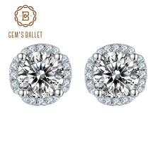 Gemmes bijoux Moissanite en argent Sterling 925, boucles d'oreilles à clous en diamant, couleur D, 5.0mm, 1,0 ct, pour femmes, mariage