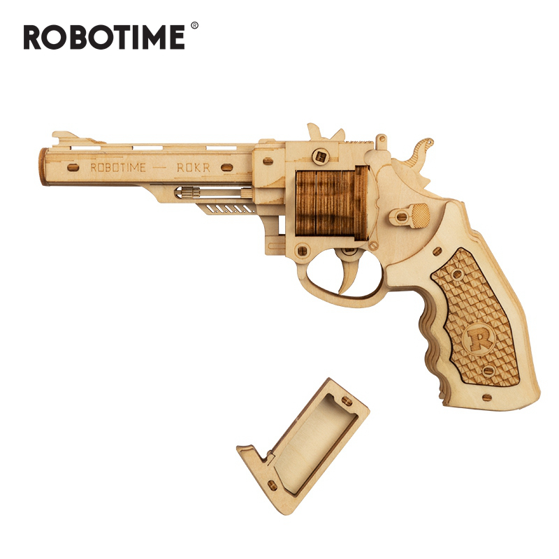 Robotime 102pcs DIY 3D Revolver with Rubber Band Bullet  Wooden Gun Puzzle Game Popular Toy Gift for Children Adult LQ401Puzzles   -