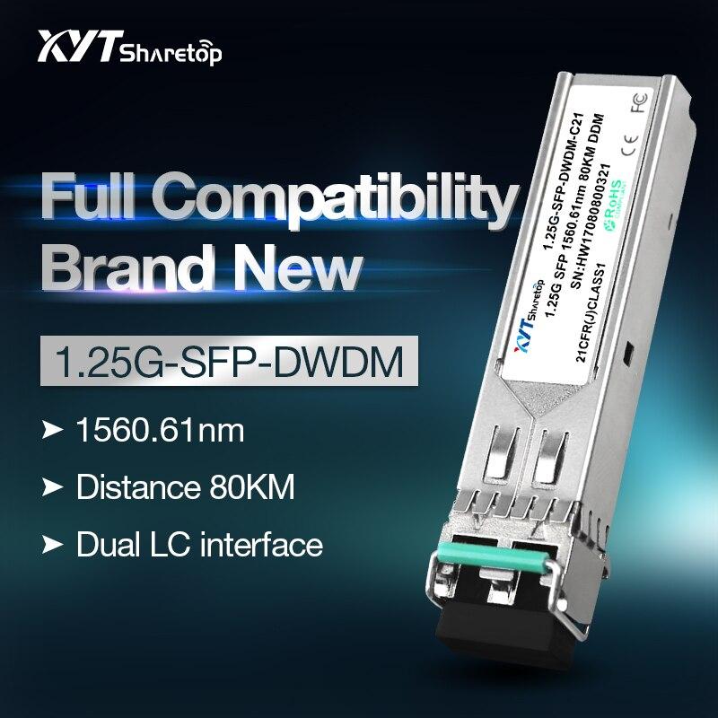 Sharetop 1.25G DWDM Optical Transceiver Module Single Mode Dual Fiber SFP-1.25G-DW C21~C60 40/80/120kmfull Compatible