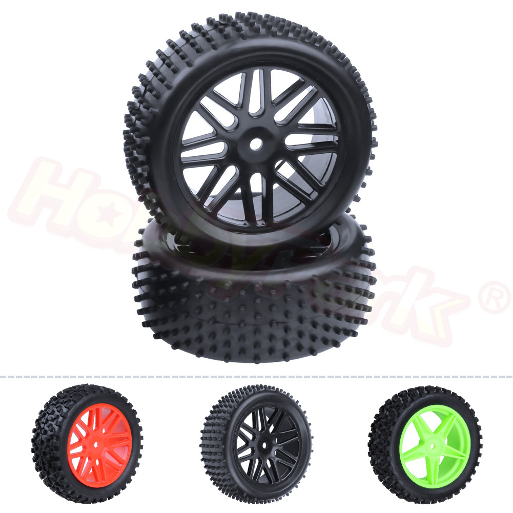 2PCS 88mm Rubber 1/10 RC Buggy Rear Tires & Wheel Rims Hex:12mm For HPI Himoto HSP Backwash Car Parts 94106 94166