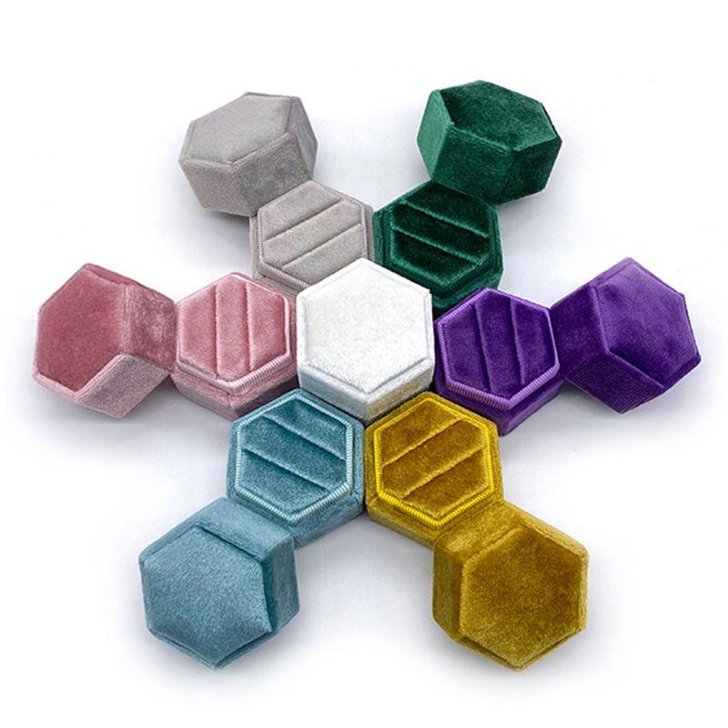 Hexagon Velvet Ring Box Double Ring Display Holder With Detachable Lid Ring Box Holder For Wedding Ceremony