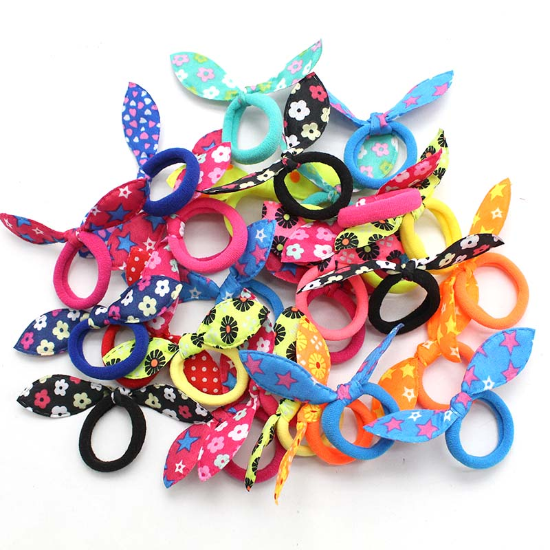 20Pcs Children elastic hair band Cute Polka Bow Rabbit Ears Headband Girl Ring Scrunchie Kids Ponytail Holder Hair Accessories