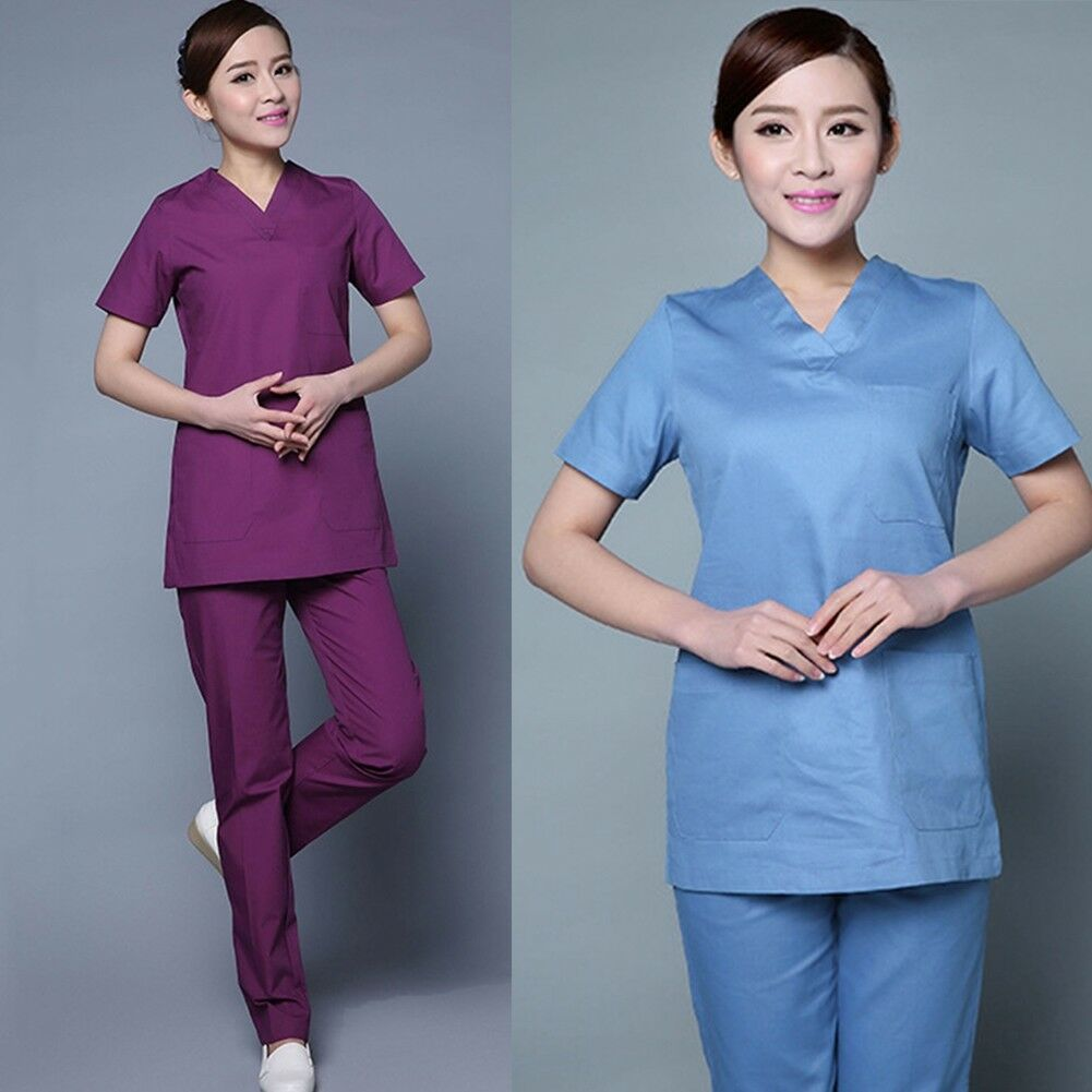 Medical Nurse Women Natural Uniforms Scallop Scrubs Sets Size Gifts Hot Sales Short Sleeve Z5