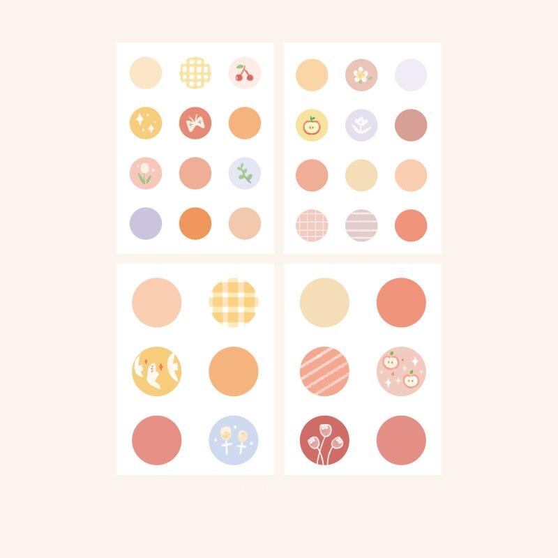 Mohamm, 8 листов, Плоские наклейки в горошек, креативные, Morandi, цветные, с цветами, стационарные, для скрапбукинга, подарок, для девочек, школьные принадлежности - Color: A