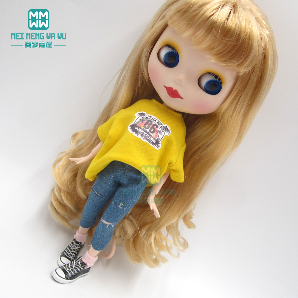 1pcs Blyth Doll Clothes Fashion T-shirt, Hole Jeans For Blyth  Azone 1/6 Doll Accessories