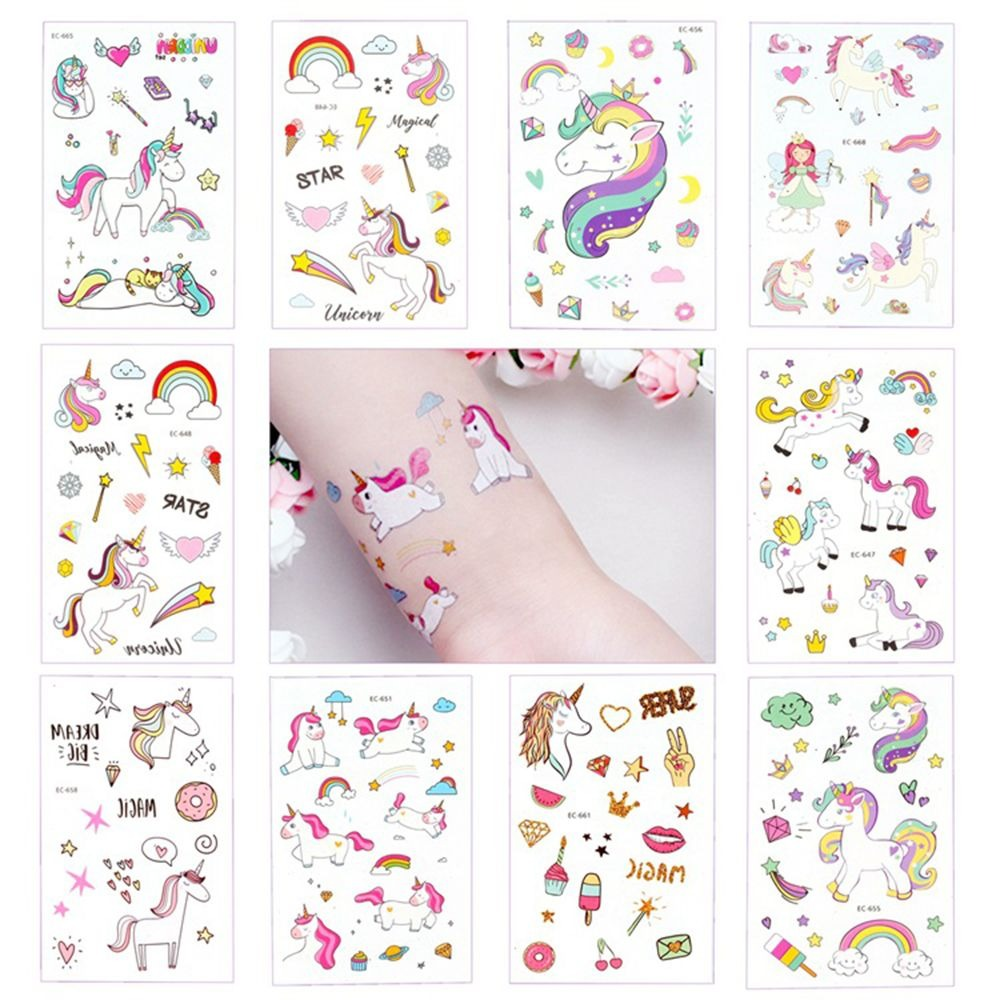 5Pcs Disposable Tattoo Sticker Unicorn Party Decoration Baby Kids Unicorn Birthday Party Favors Temporary Party Supplies