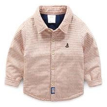 Лидер продаж; детская плотная рубашка в клетку; коллекция года; сезон осень-зима; Одежда для мальчиков в Корейском стиле; утепленная хлопковая детская От 2 до 8 лет с вышивкой