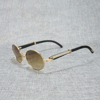 Rhinestone Natural Black White Buffalo Horn Round Sunglasses Men Stone Metal Frame Clear Glasses Retro Shades for Outdoor Summer