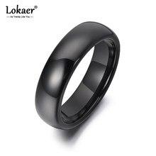 Lokaer – bagues en céramique noire brillante pour femme et fille, Anneaux d'anniversaire, Style bohémien, 6mm, R19053