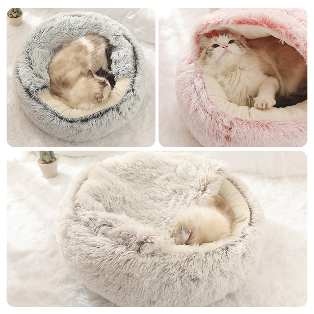HOOPET New Style Pet Dog Cat Bed Round Plush Cat Warm Bed House Soft Long Plush Bed For Small Dogs For Cats Nest 2 In 1 Cat Bed- 5